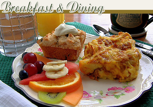 hot breakfast prepared in the simple & hearty country style of our Pennsylvania Dutch region